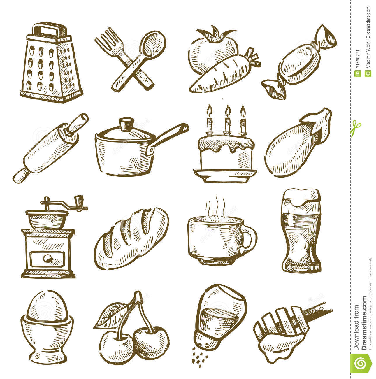 15 Kitchen Utensils Sketch : Hand Drawn Kitchen Stock Image - Image: 31568771