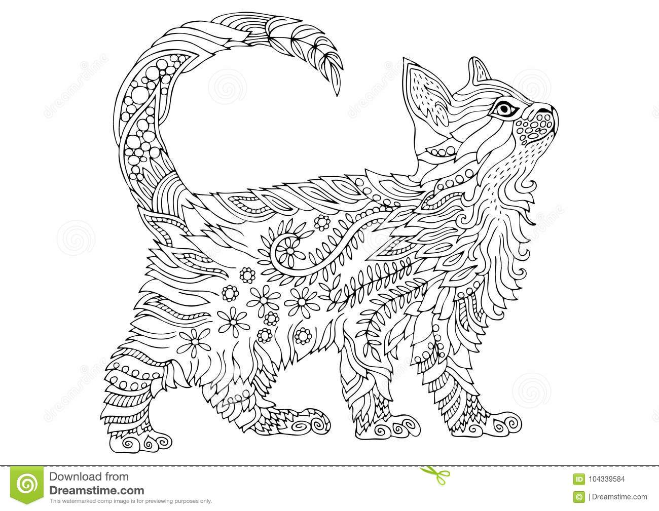 - Hand Drawn Kitten. Sketch For Anti-stress Coloring Page. Stock