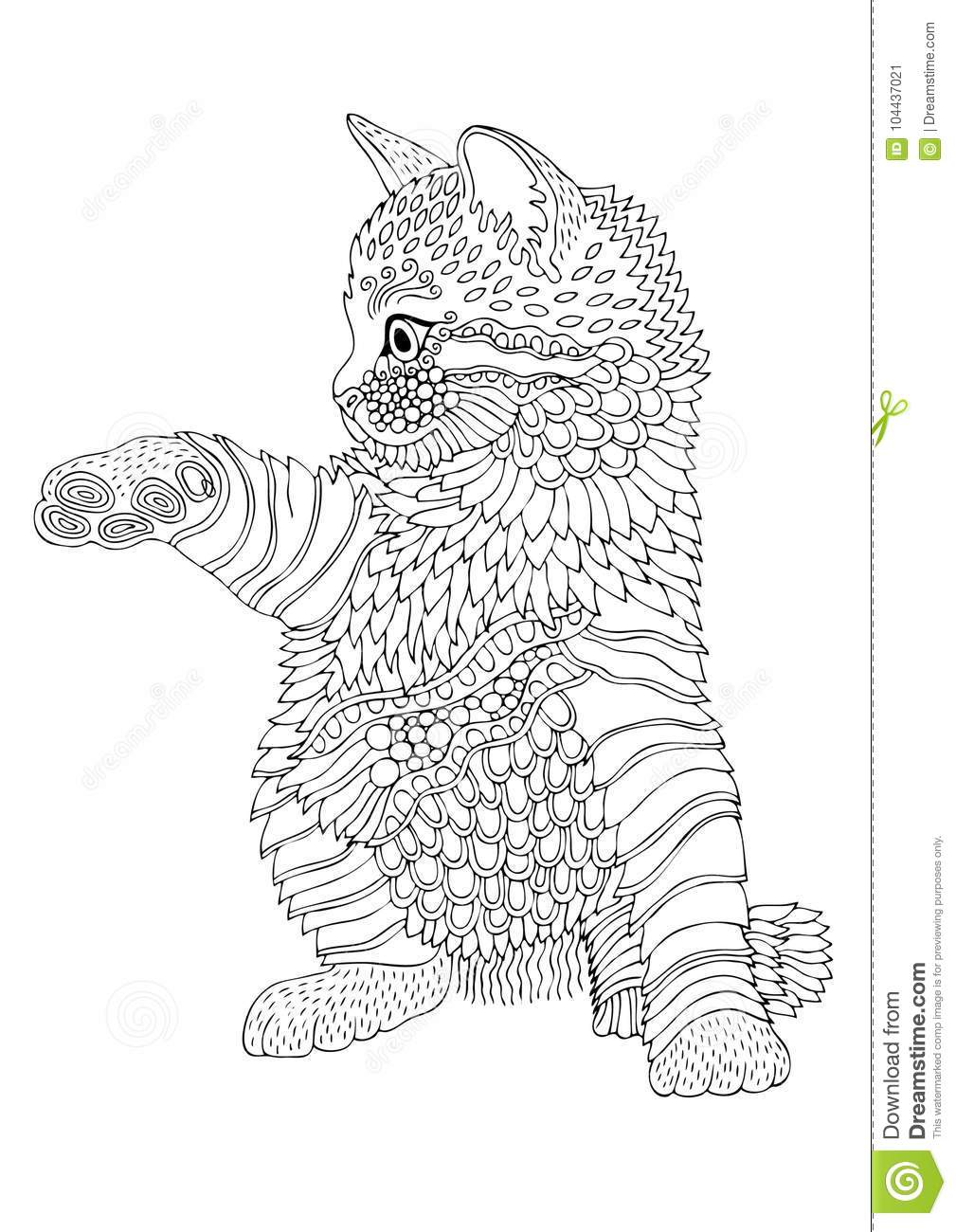 Hand Drawn Kitten. Sketch For Anti-stress Coloring Page ...