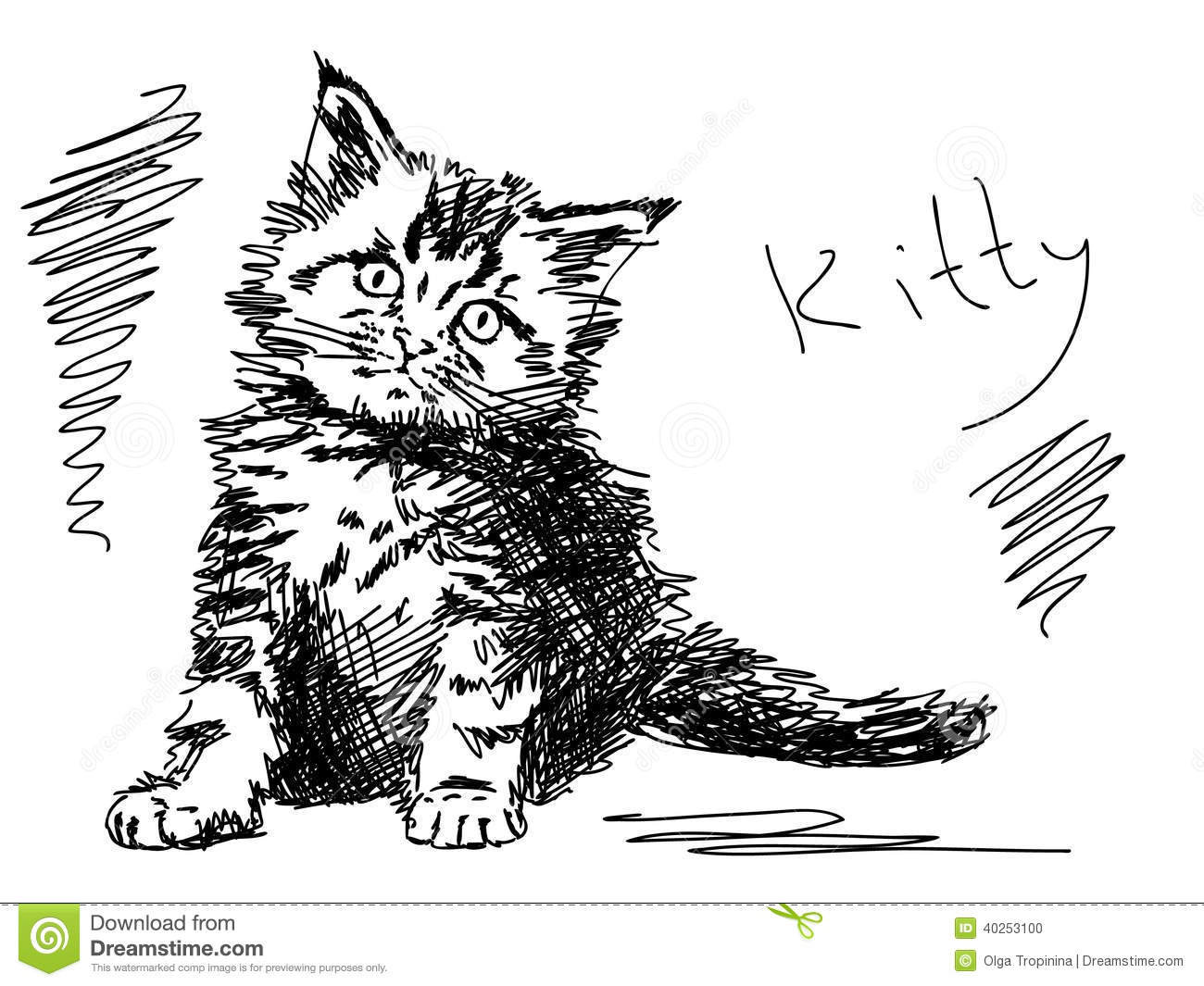 Hand Drawn Kitty Cat Stock Vector Illustration Of Draw 40253100