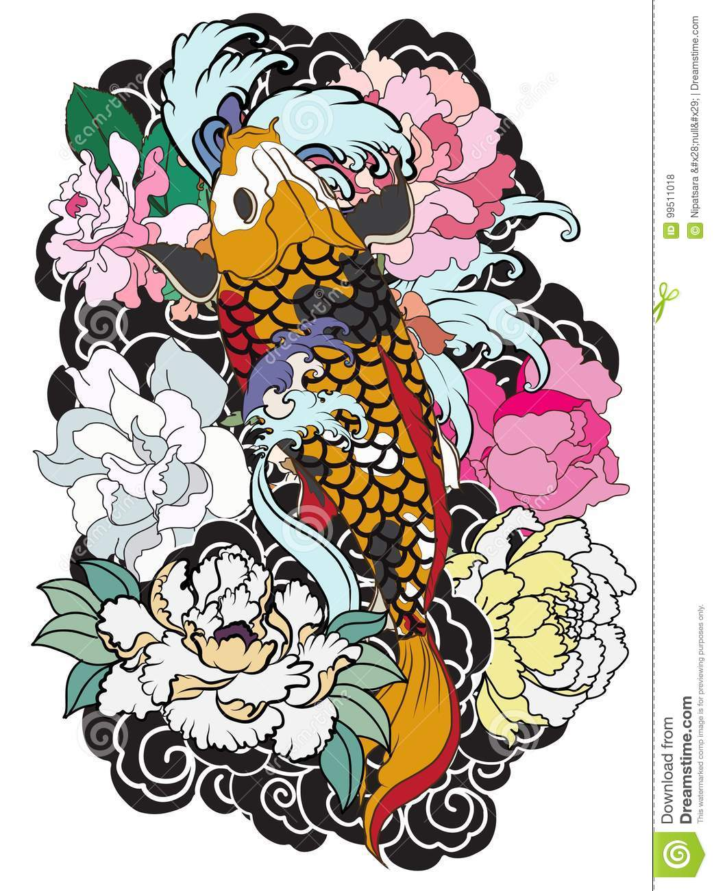 Beautiful Colorful Koi Carp With Water Splash Lotus And Peony
