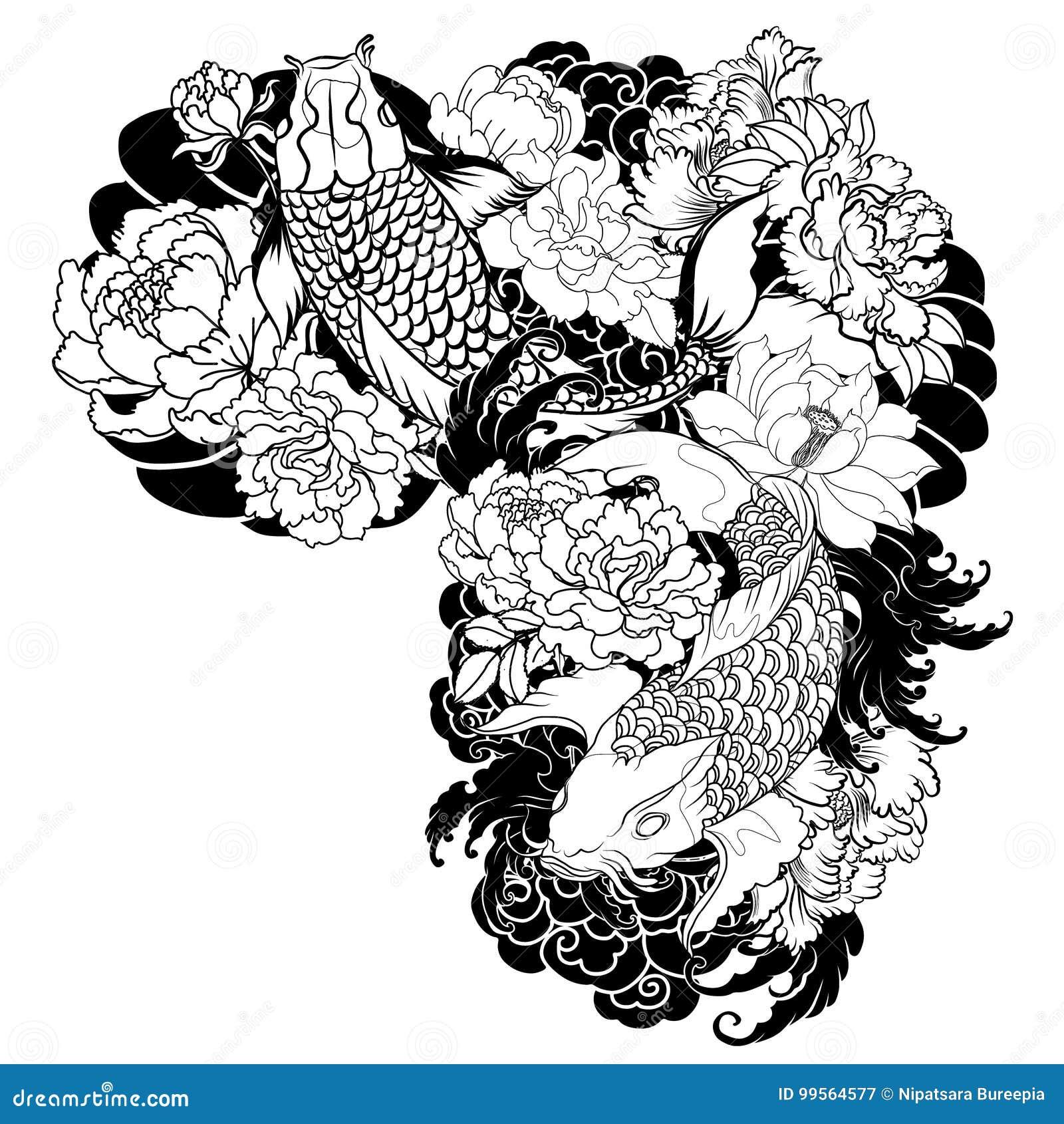 Beautiful colorful koi carp with water splash lotus and peony beautiful colorful koi carp with water splash lotus and peony flower traditional japanese tattoo design background drawn izmirmasajfo Images