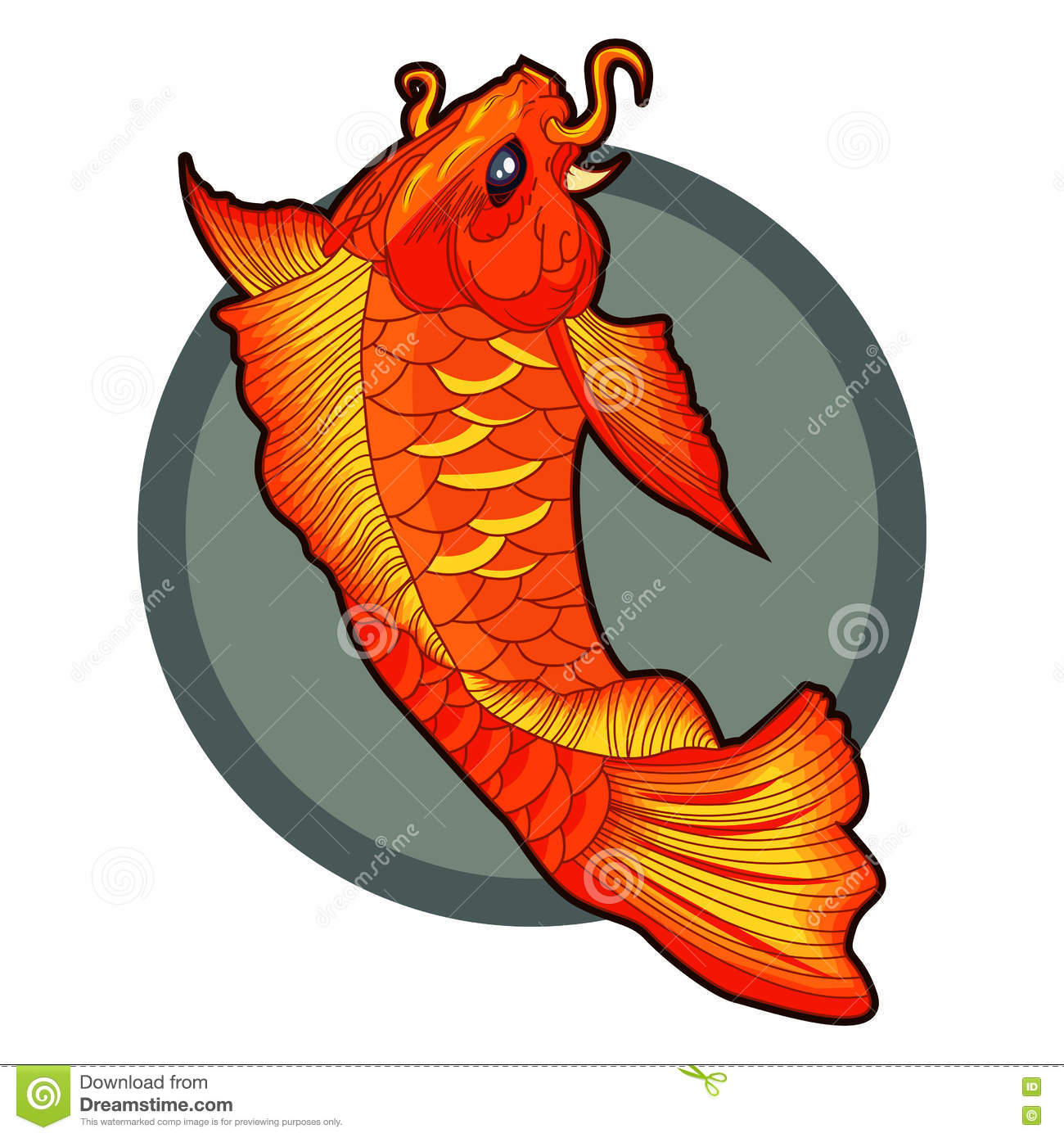 Hand drawn koi fish tattoo beautiful vector illustration for Koi fish vector