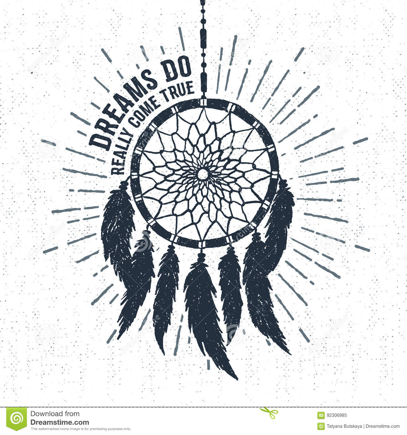 Hand Drawn Label With Dream Catcher Vector Illustration And