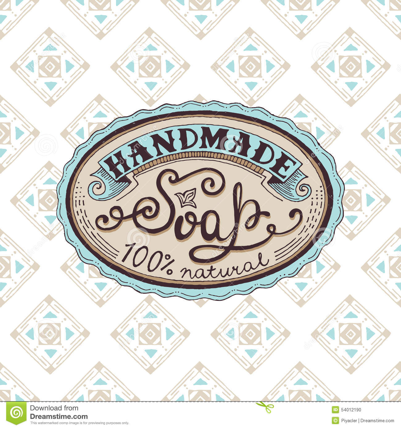 Hand Drawn Label And Pattern For Handmade Soap Bar Stock Vector ...