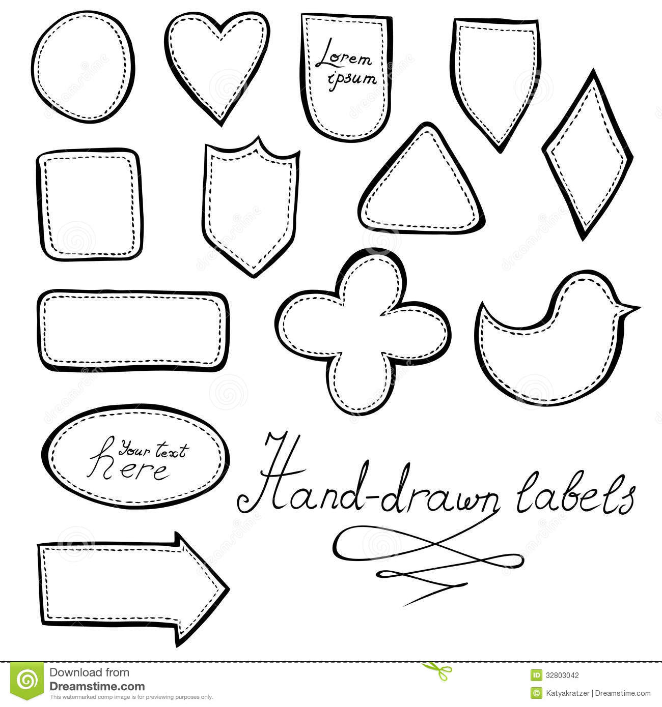 Vintage Label Outline Hand-drawn vintage labels set Vintage Label Outline