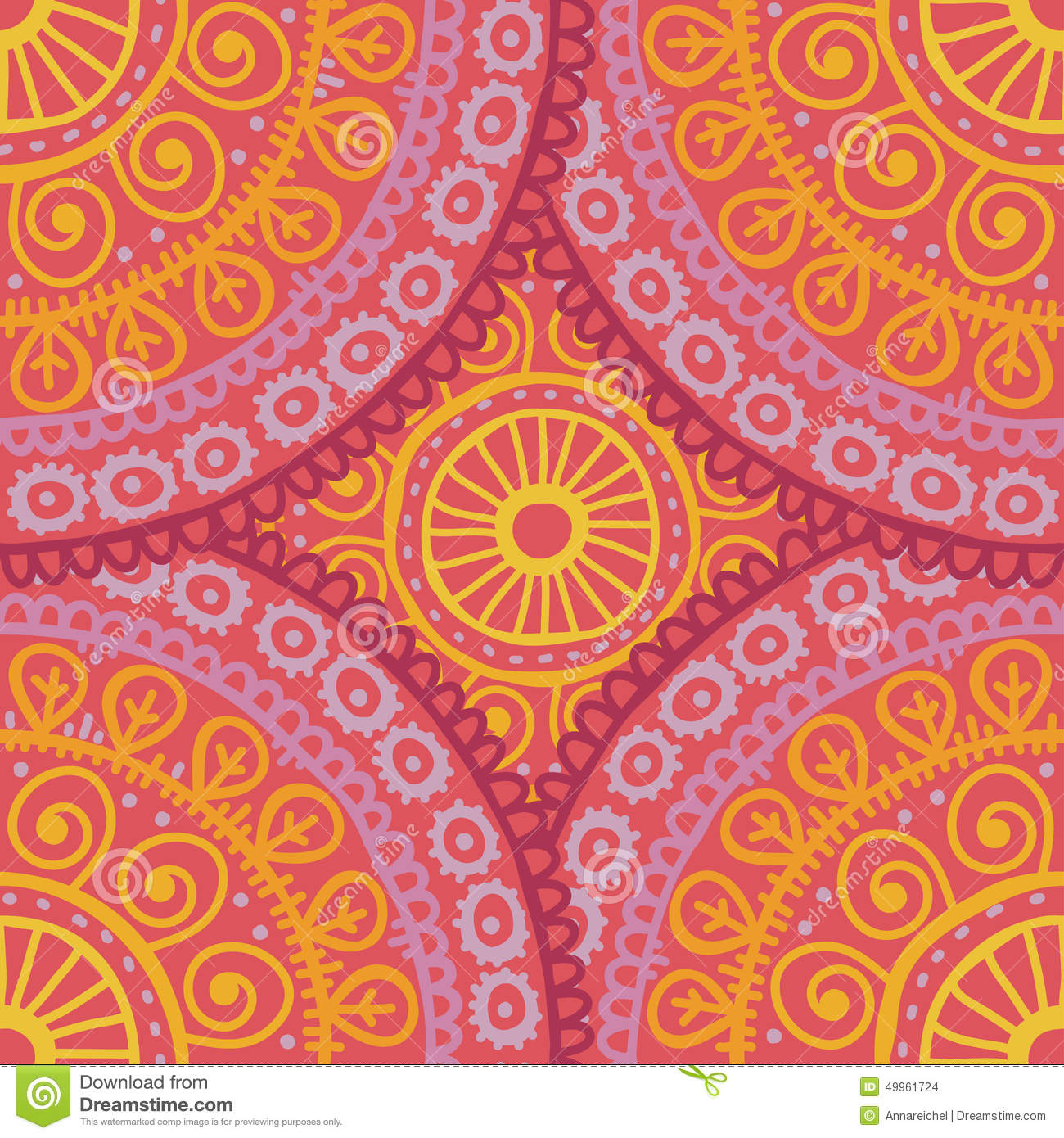 hand drawn lace ethnic seamless pattern in pink and orange. Black Bedroom Furniture Sets. Home Design Ideas