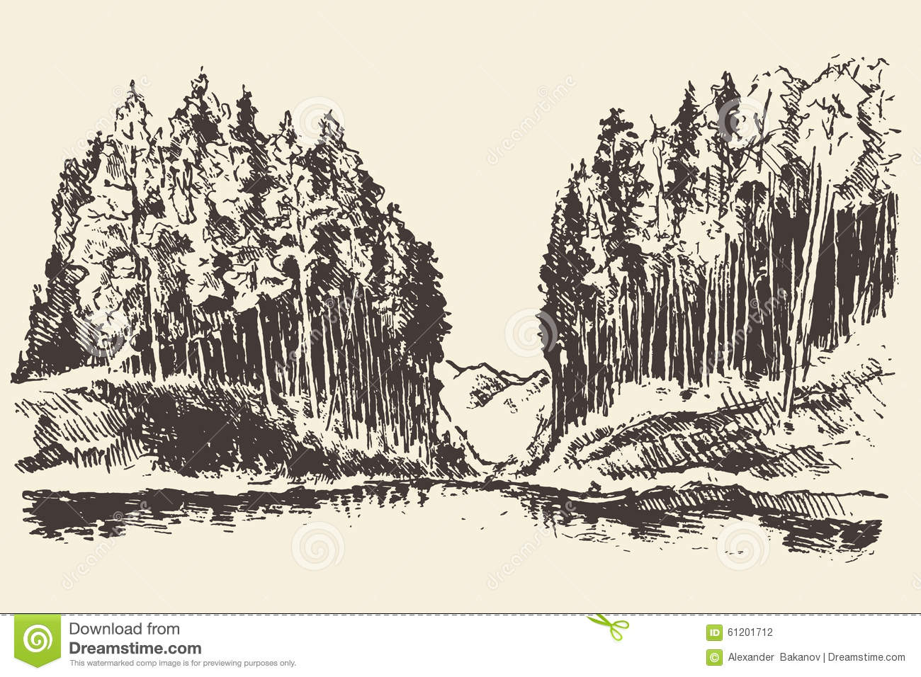 Landscape Illustration Vector Free: Hand Drawn Landscape Lake And Fir Forest Vector Stock