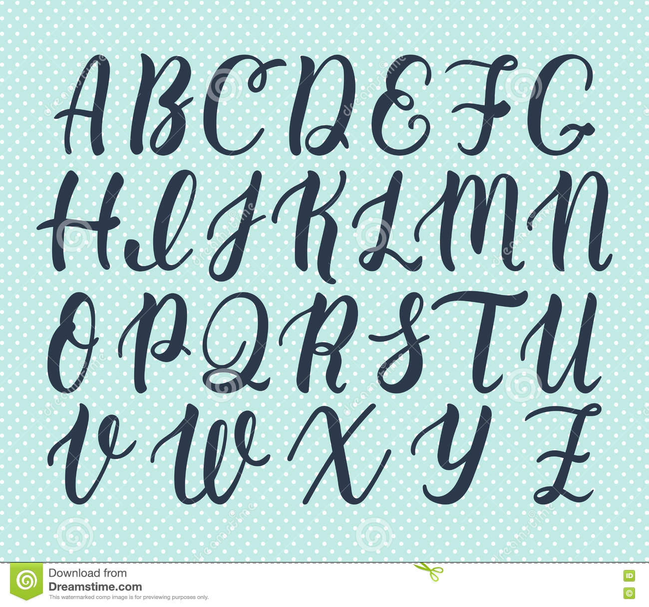 ... brush script of capital letters. Calligraphic alphabet. Vector
