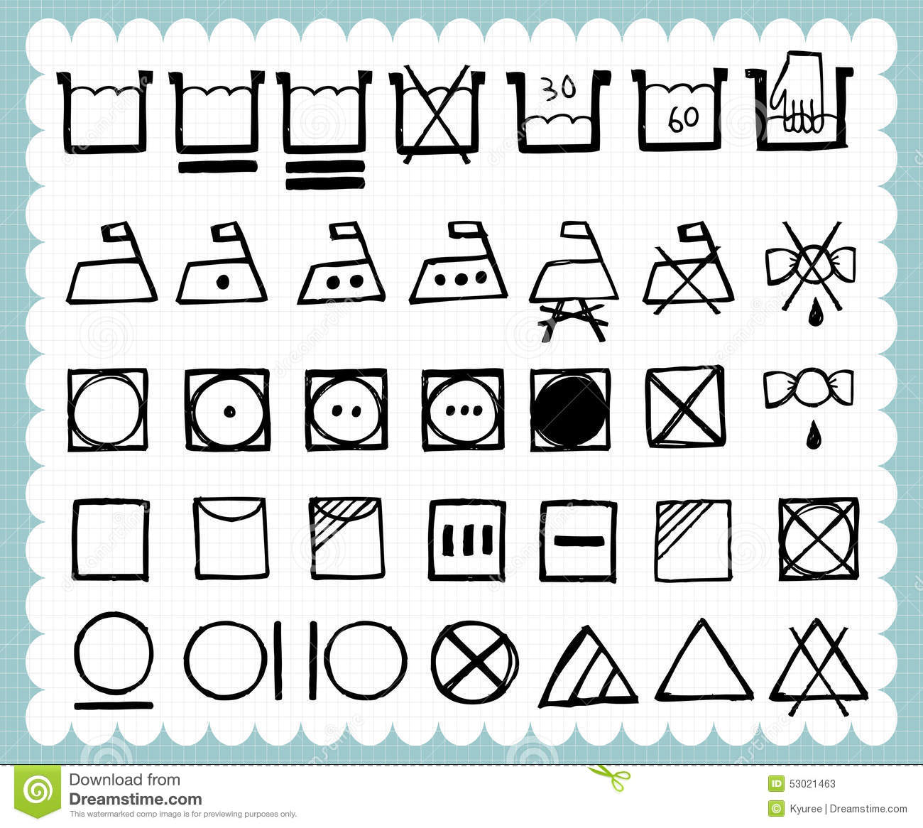 Hand drawn laundry symbol set stock vector illustration of ironing hand drawn laundry symbol set biocorpaavc Image collections