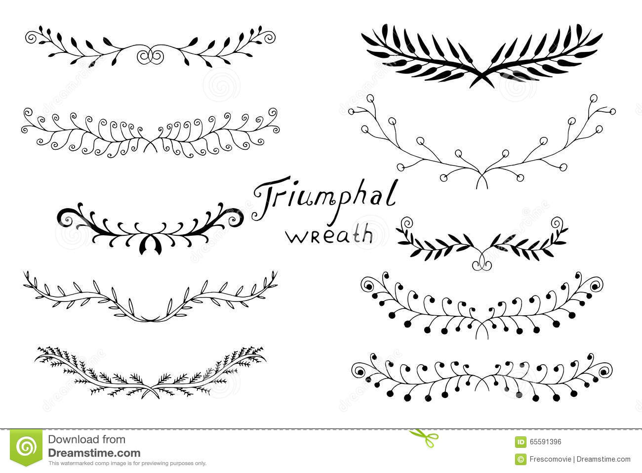 Vintage Set Hand Drawn Rustic Laurels Floral Vector Graphic on Spring Season Clipart Black And White Clip