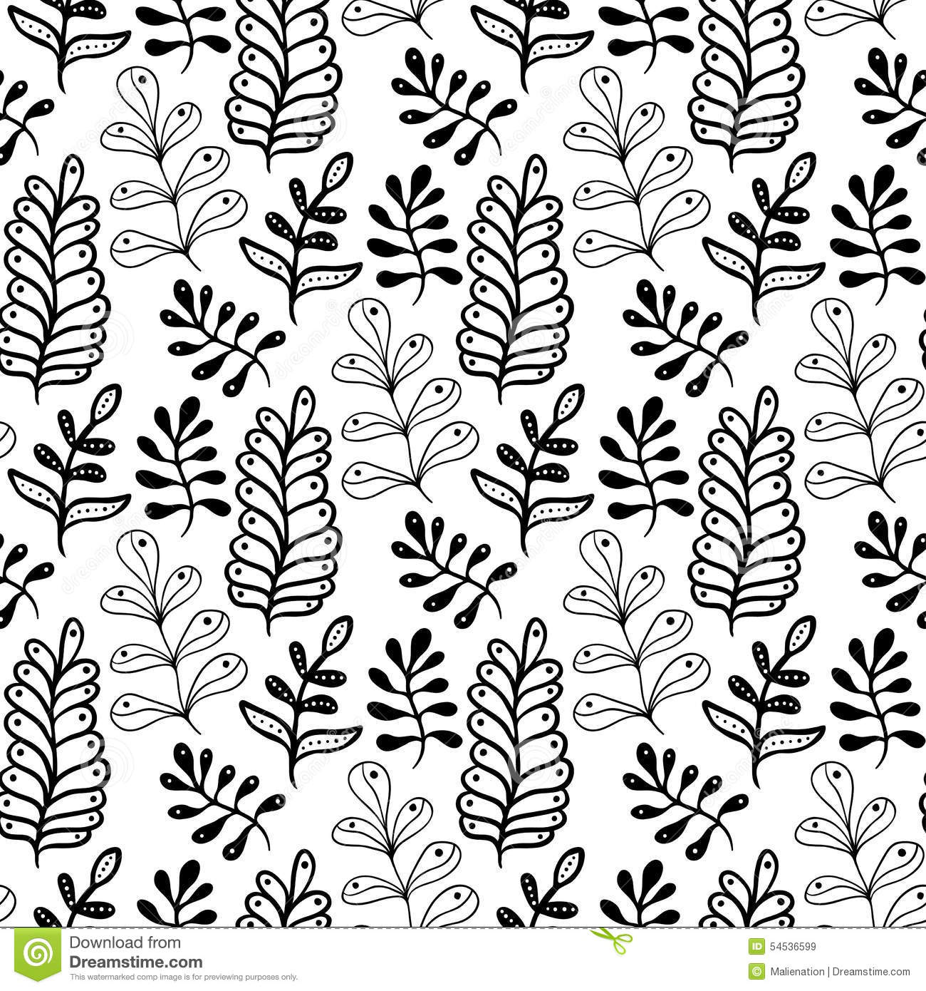 Hand Drawn Leaves Background In Black And White Color ...