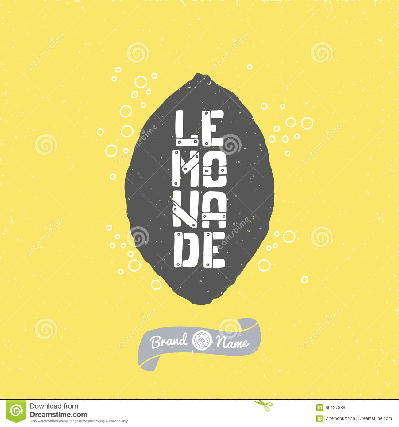 hand drawn lemon silhouette with lemonade lettering hipster package
