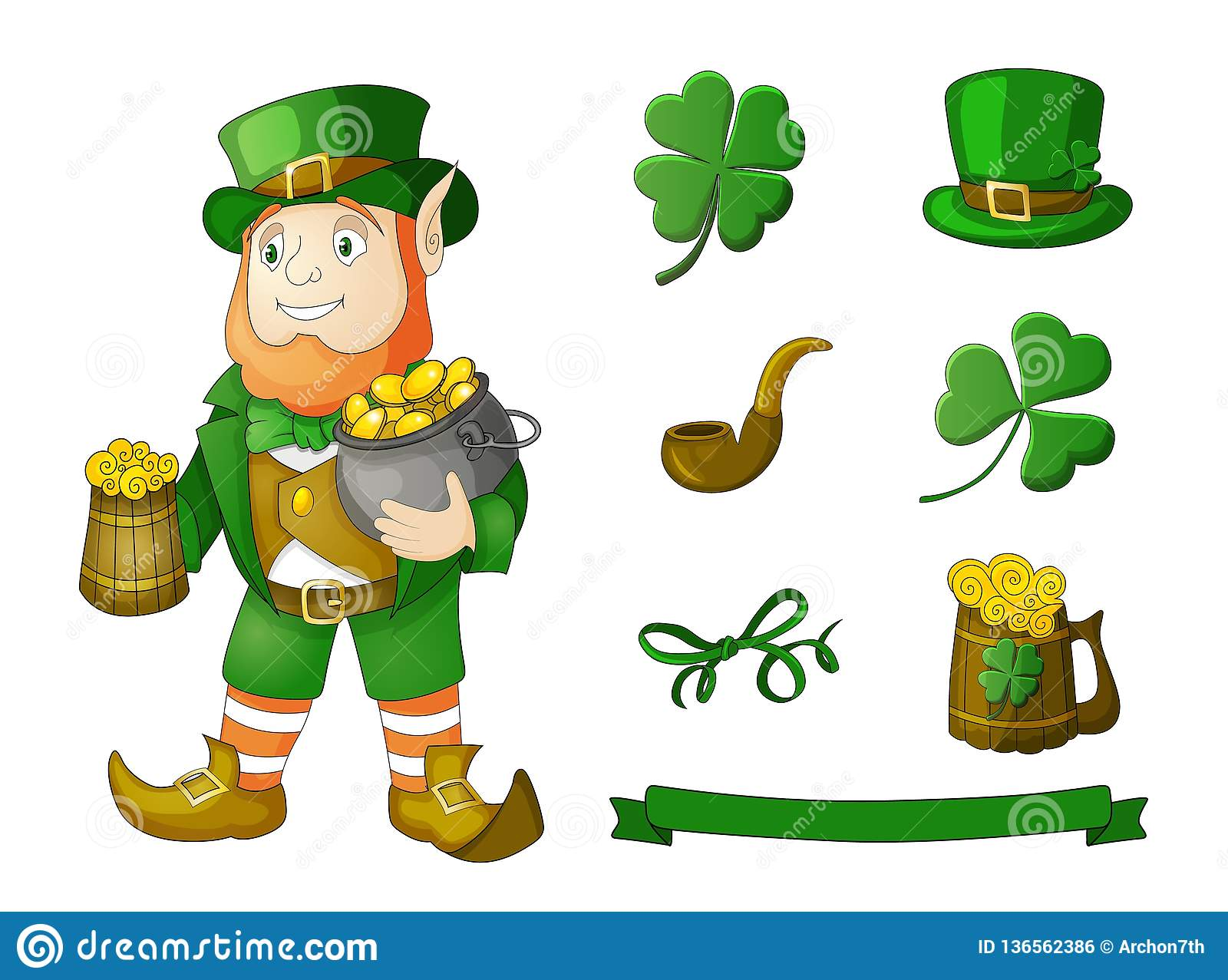 35914e67 Vector vintage Irish festival retro vintage decoration design elements  isolated on white. Designers Also Selected These Stock Illustrations