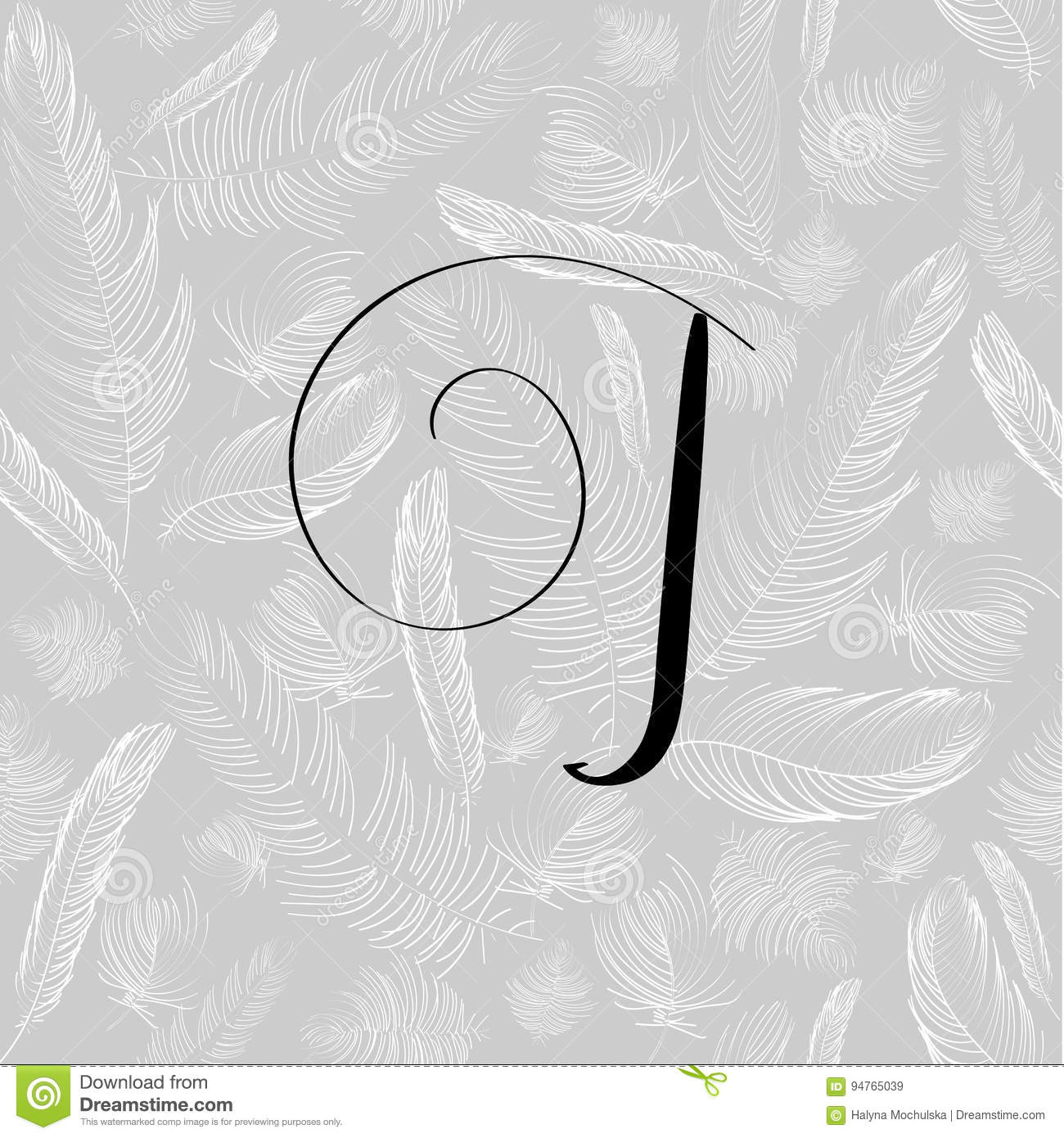 Hand Drawn Letter J In Modern Calligraphy Style Boho Art Print With