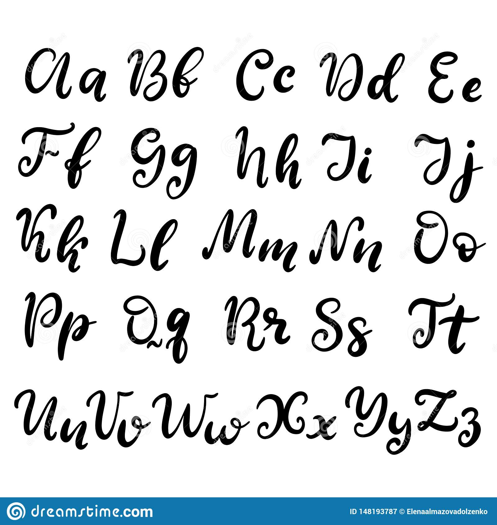 Hand drawn lettering font, alphabet