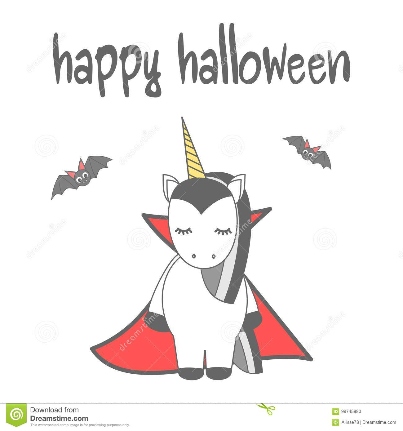 Hand Drawn Lettering Happy Halloween Vector Card With Cute