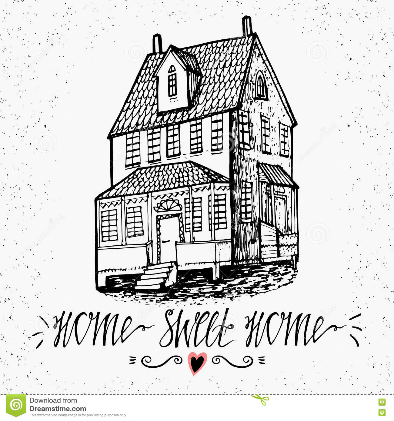 Hand Drawn Lettering- Home Sweet Home. Sketch House. Inspirational ...