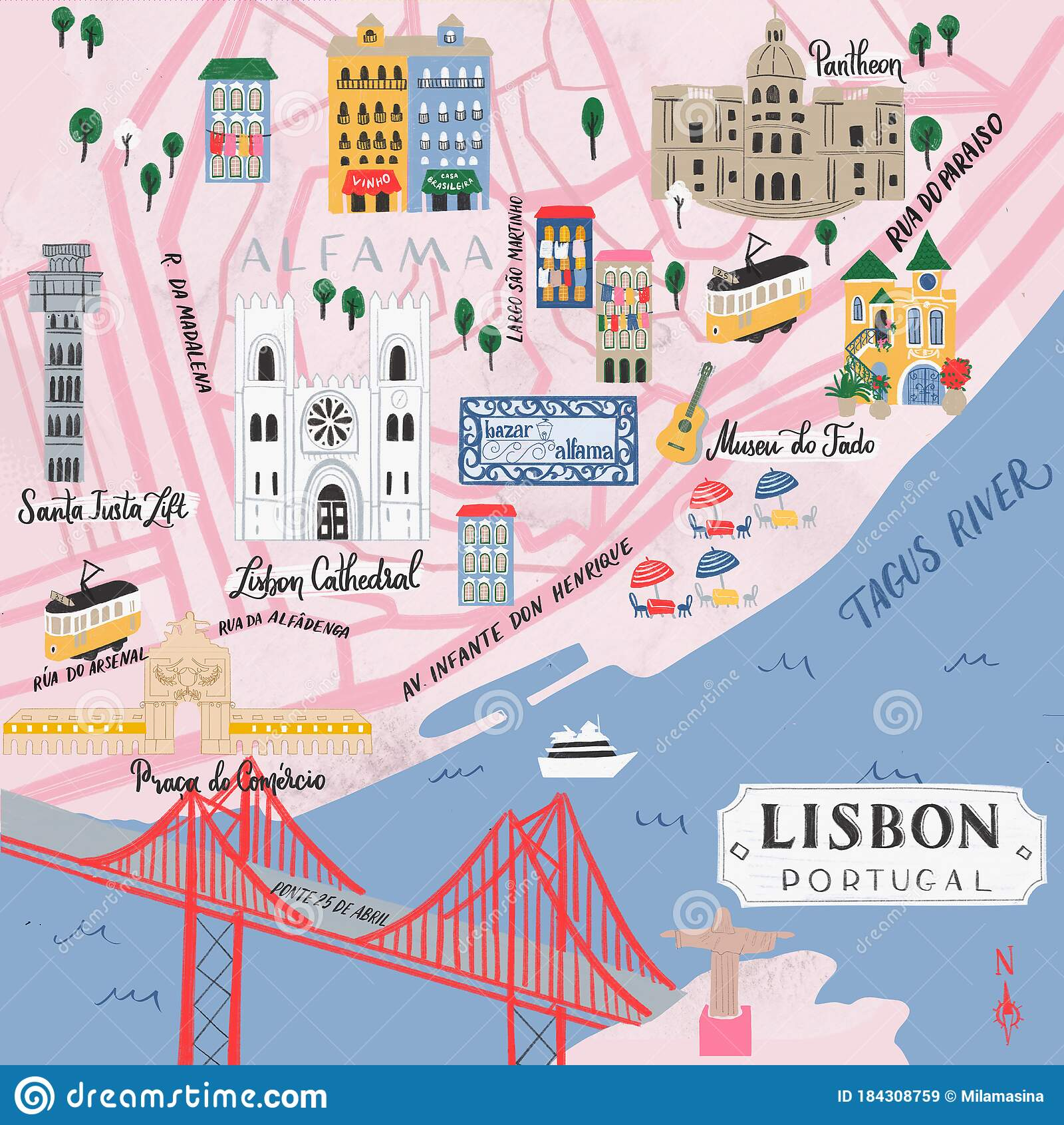 Picture of: Illustrative Map Of Lisbon Portugal Stock Illustration Illustration Of Geography Card 184308759