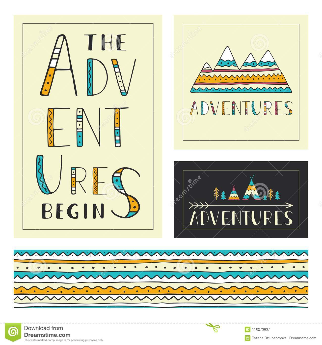 Set of stylish outdoor cards template. The adventures begin