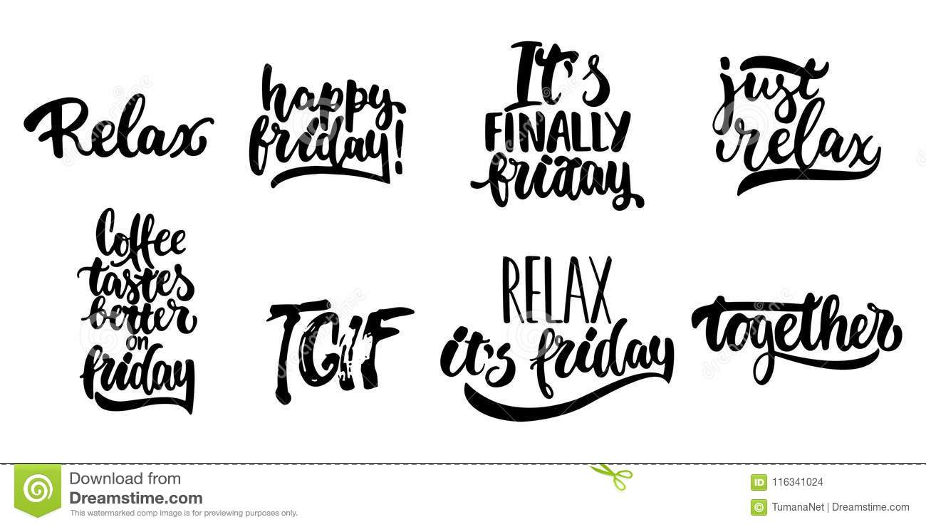 Hand Drawn Lettering Quotes About Friday, TGIF Collections ...