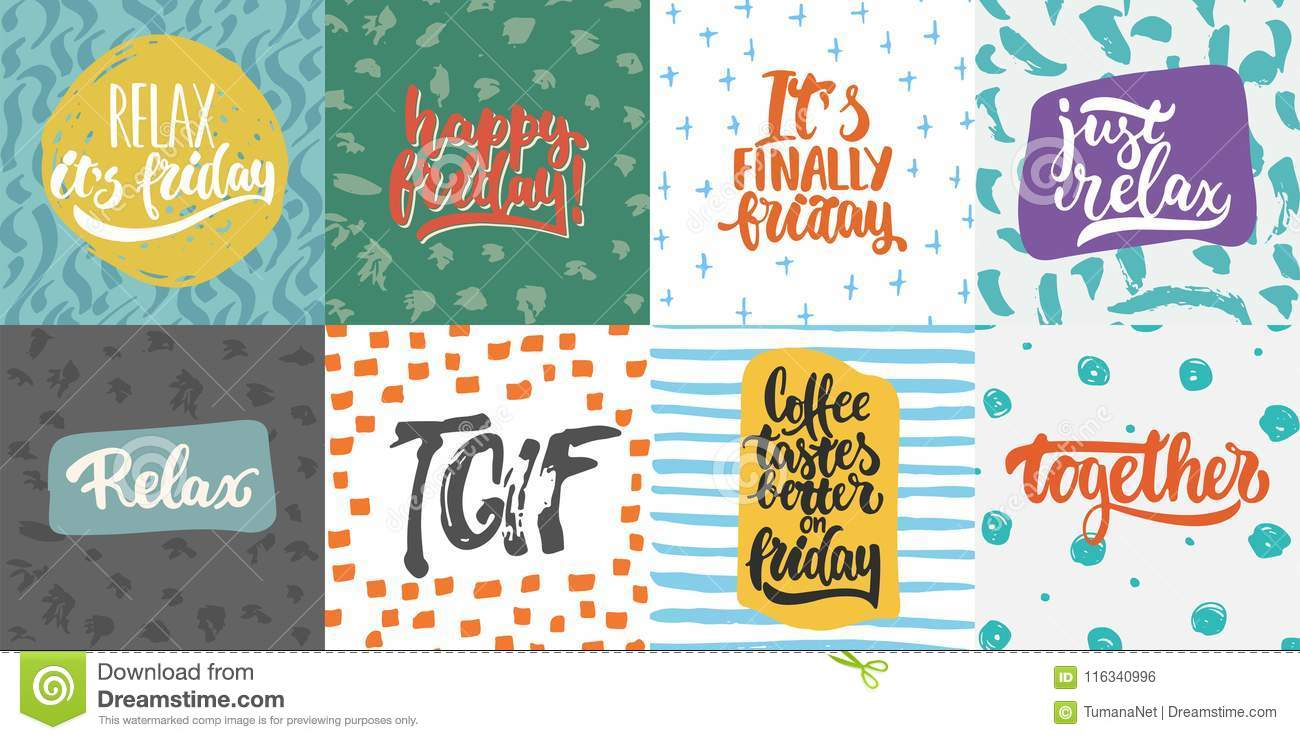 Hand Drawn Lettering Quotes And Greeting Cards About Friday