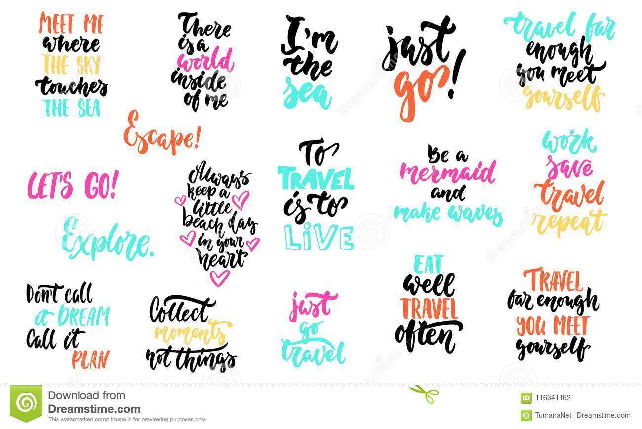 Hand Drawn Lettering Quotes About Summer And Sea Collections