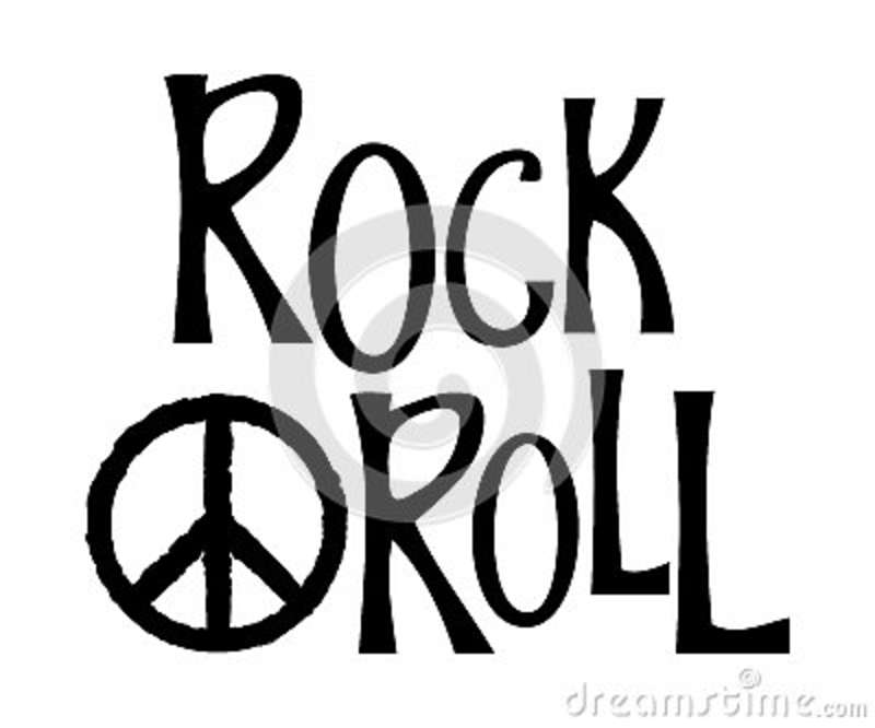 Hand Drawn Lettering Rock And Roll And Hippie Peace Symbol Stock