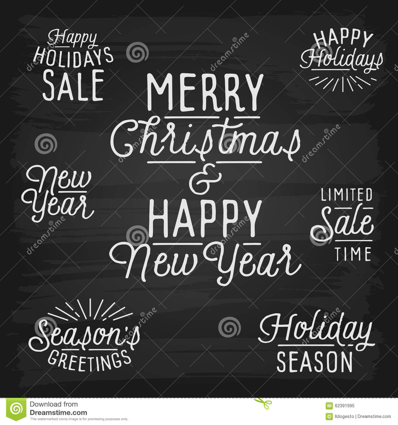 Hand Drawn Lettering Slogans For Christmas And New Year ...