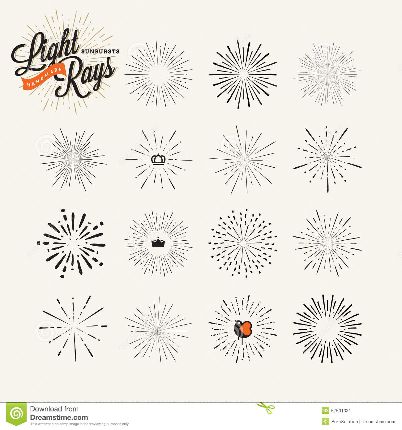 hand drawn light rays and starburst design elements stock vector