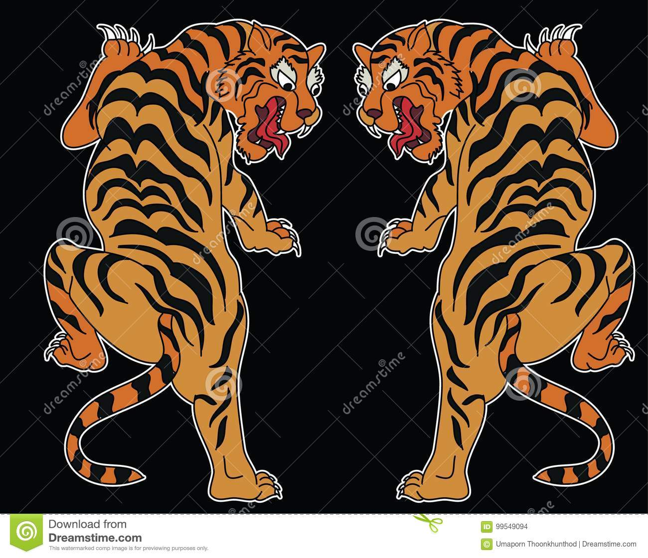 Japanese Tiger Tattoo Design Vector Stock Vector Illustration Of