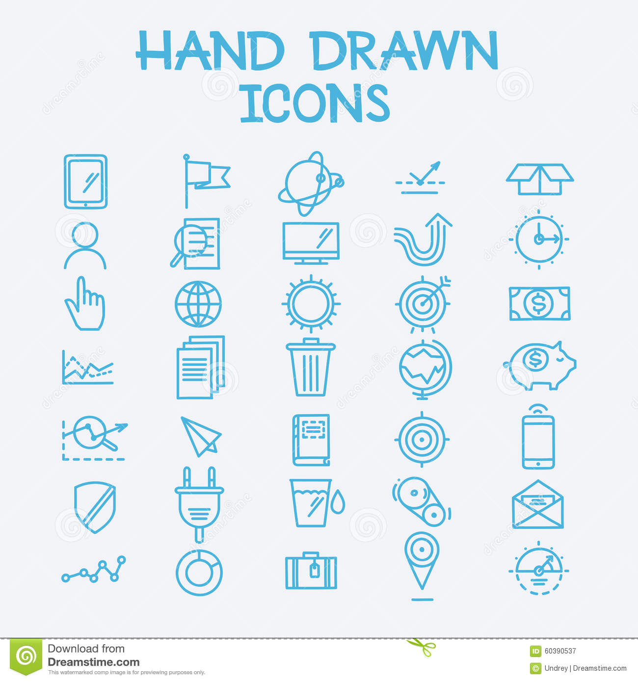 Hand Drawing Line Icons : Hand drawn line icons business management company stock