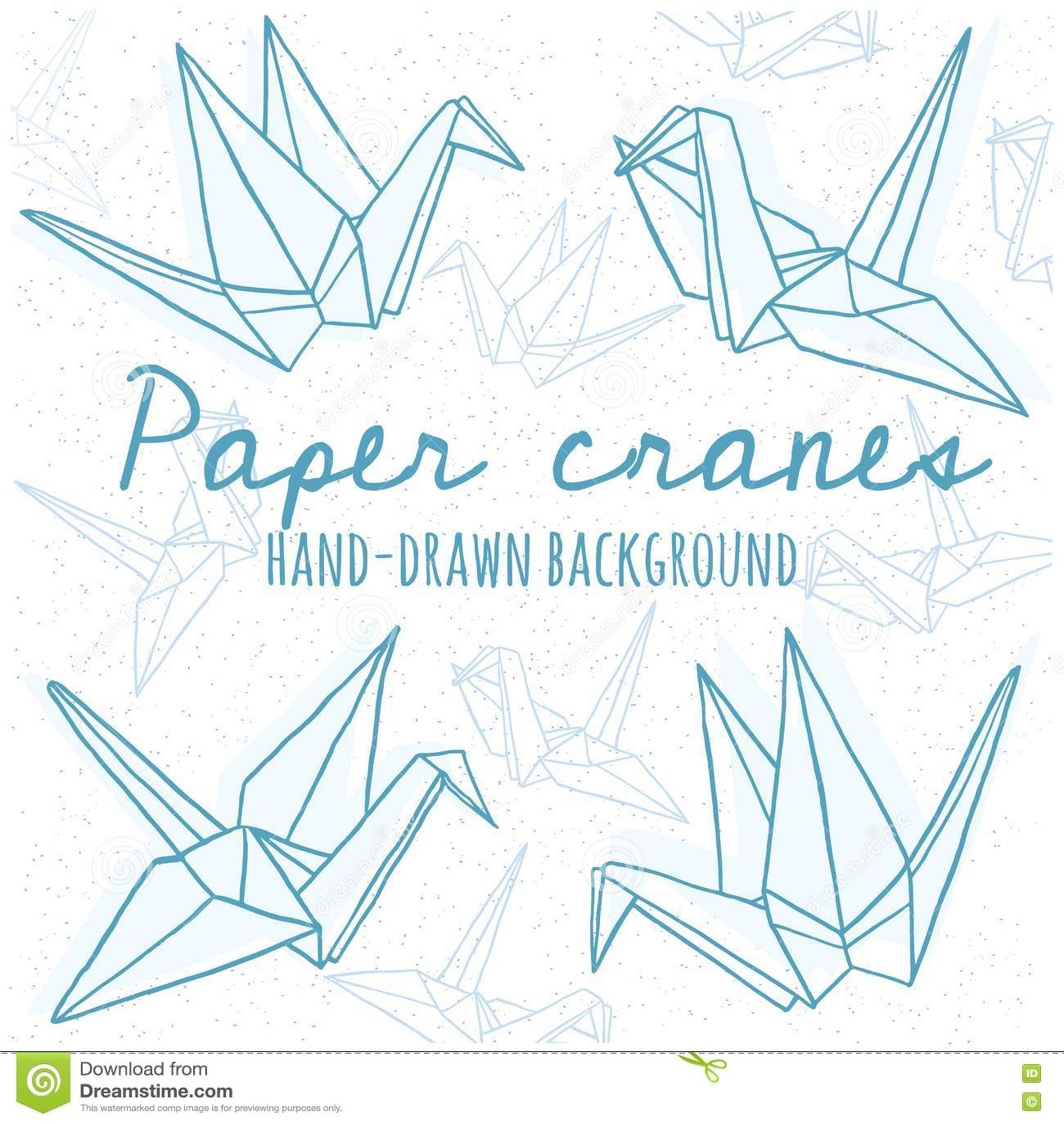 Hand Drawn Line Paper Crane Set Stock Vector Illustration Of Icon