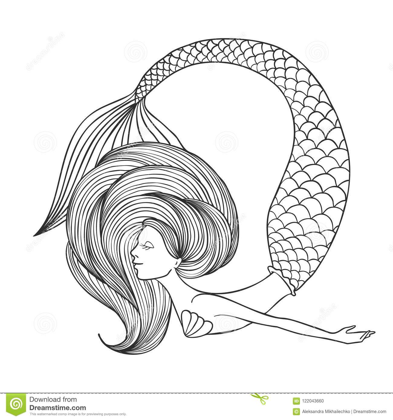 Hand Drawn Linear Cute Girl Mermaid For Coloring Book. Stock ...