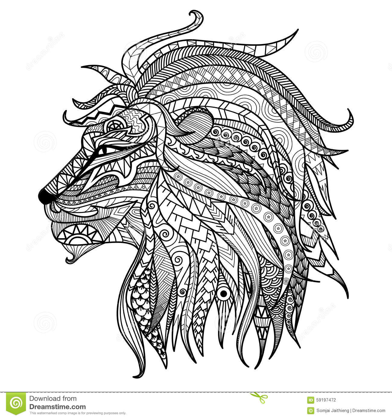 hand drawn lion coloring page stock vector