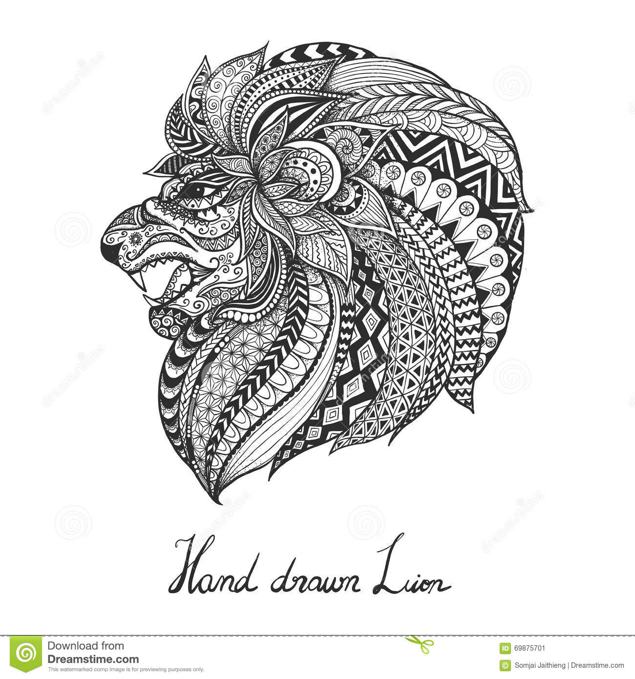 Coloring book for adults lion - Coloring Book For Adults Lion Hand Drawn Lion Zentangle Style