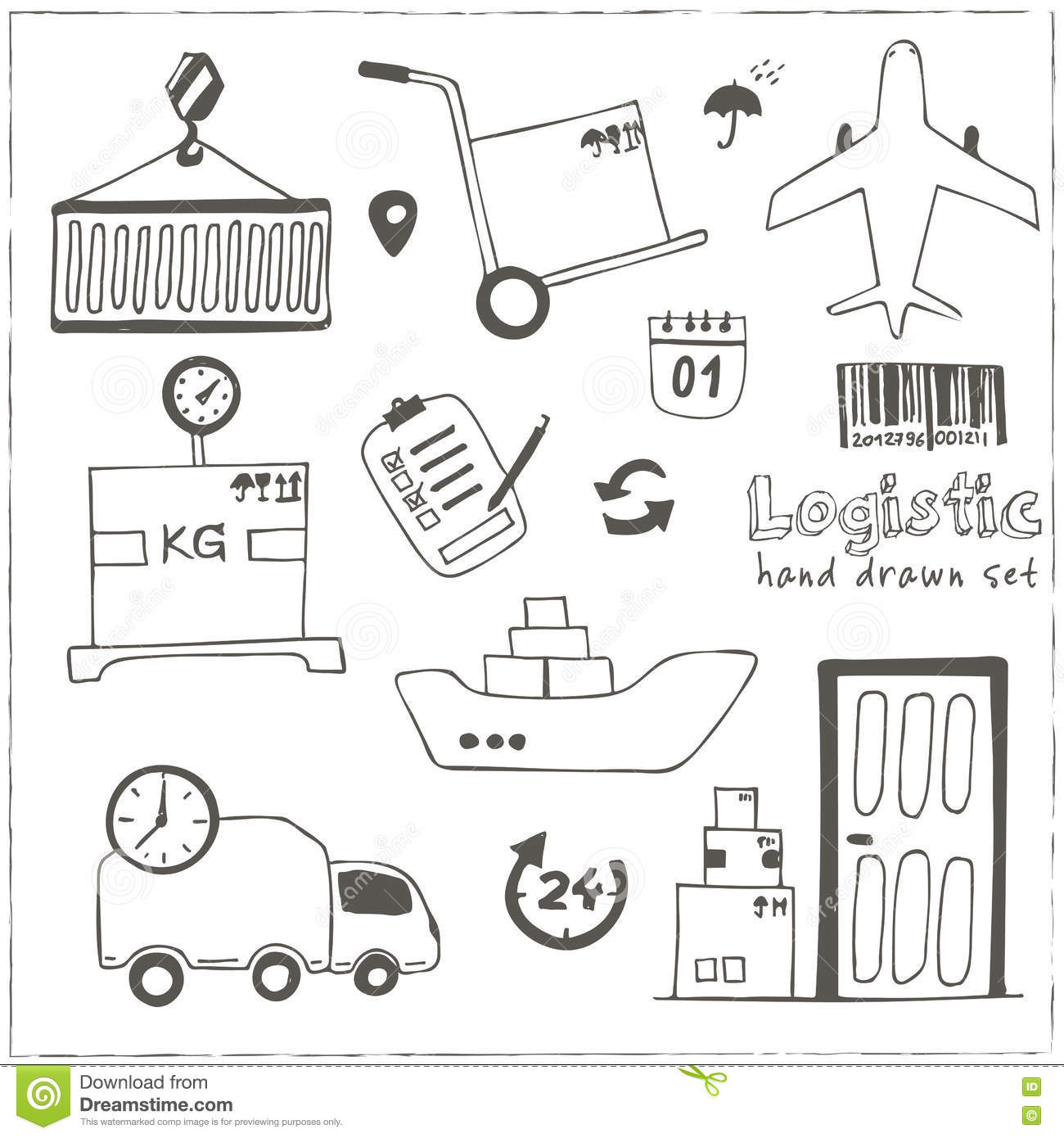 transport hand drawn doodle icons 3 stock photography