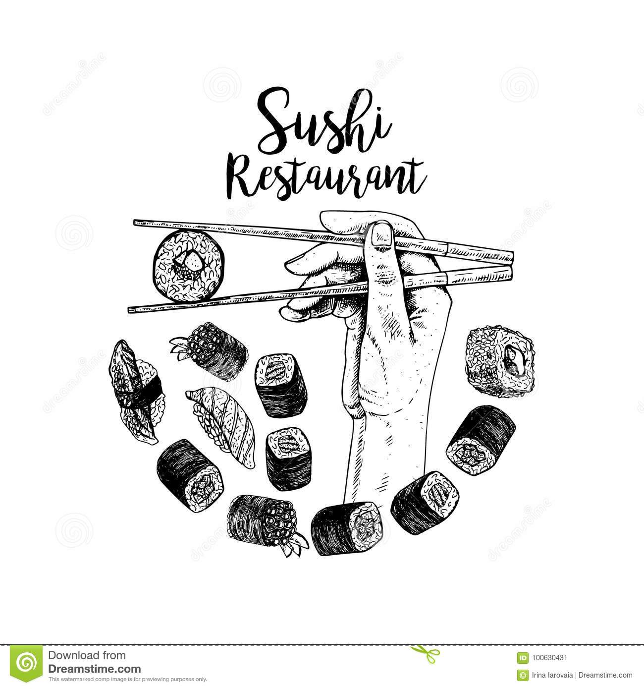 Hand drawn logo desing with sushi. Vector sketch