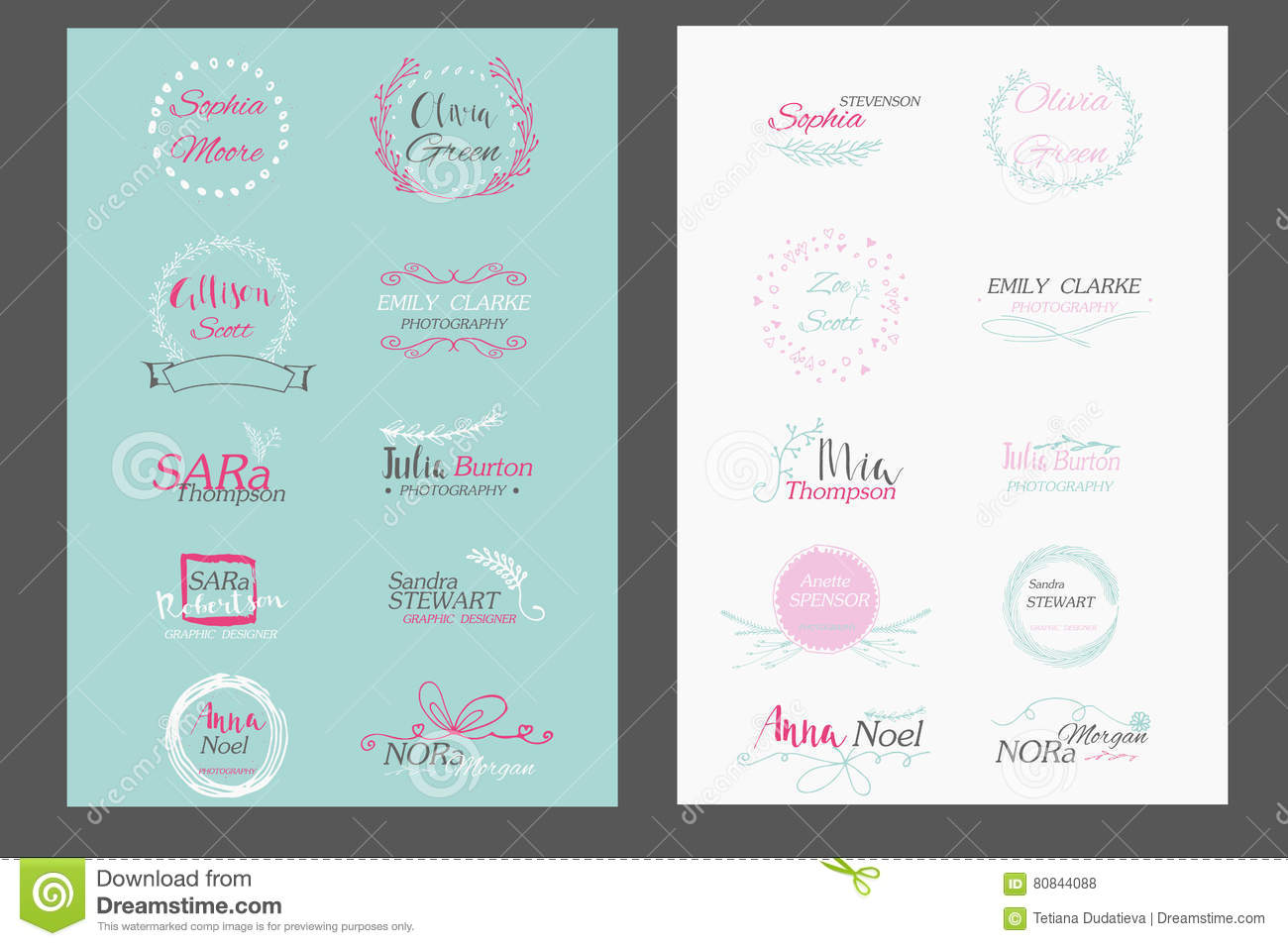 Hand Drawn Logo Templates Collection  Stock Vector - Illustration of