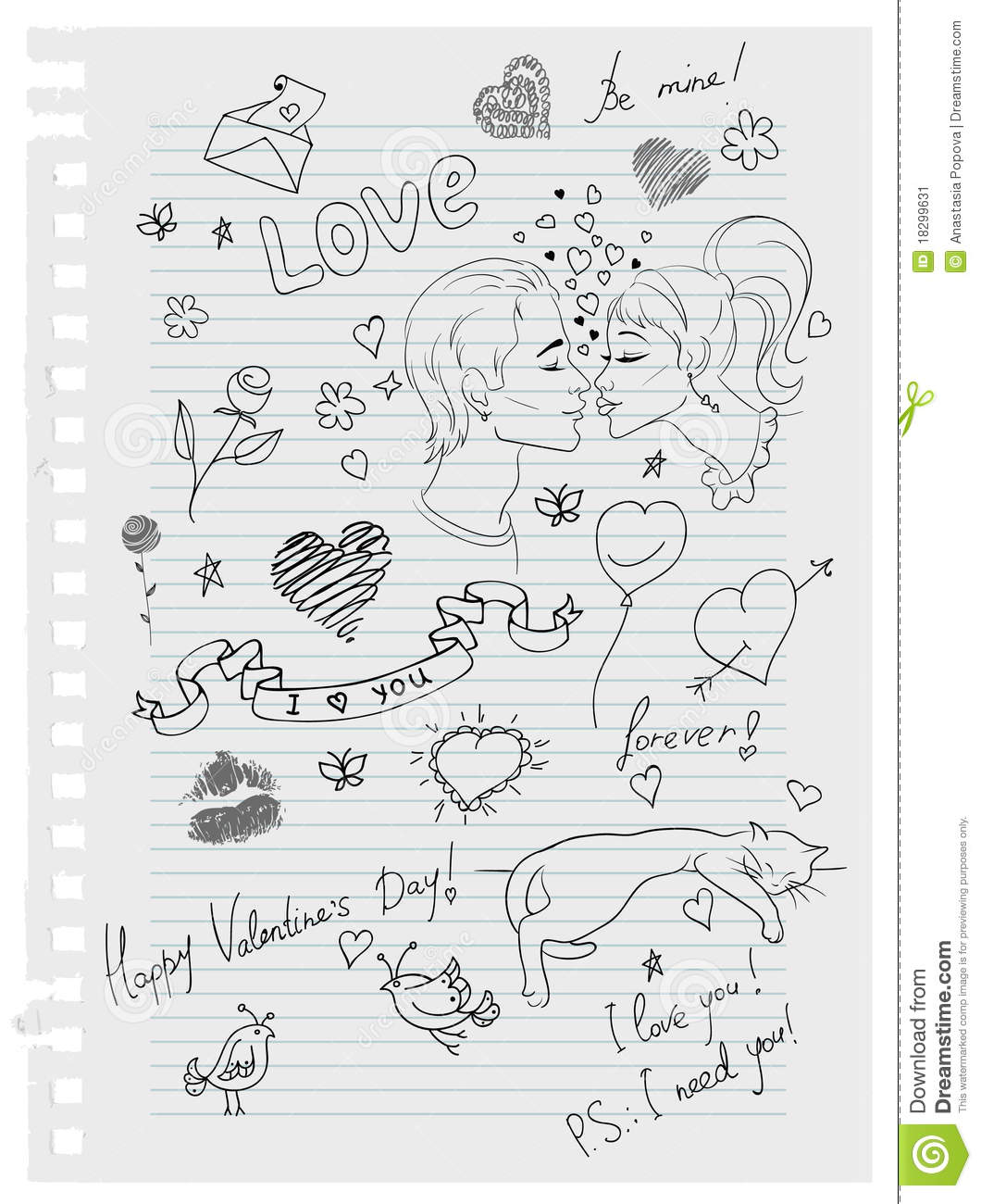 Hand-drawn Love Doodles Stock Vector. Illustration Of