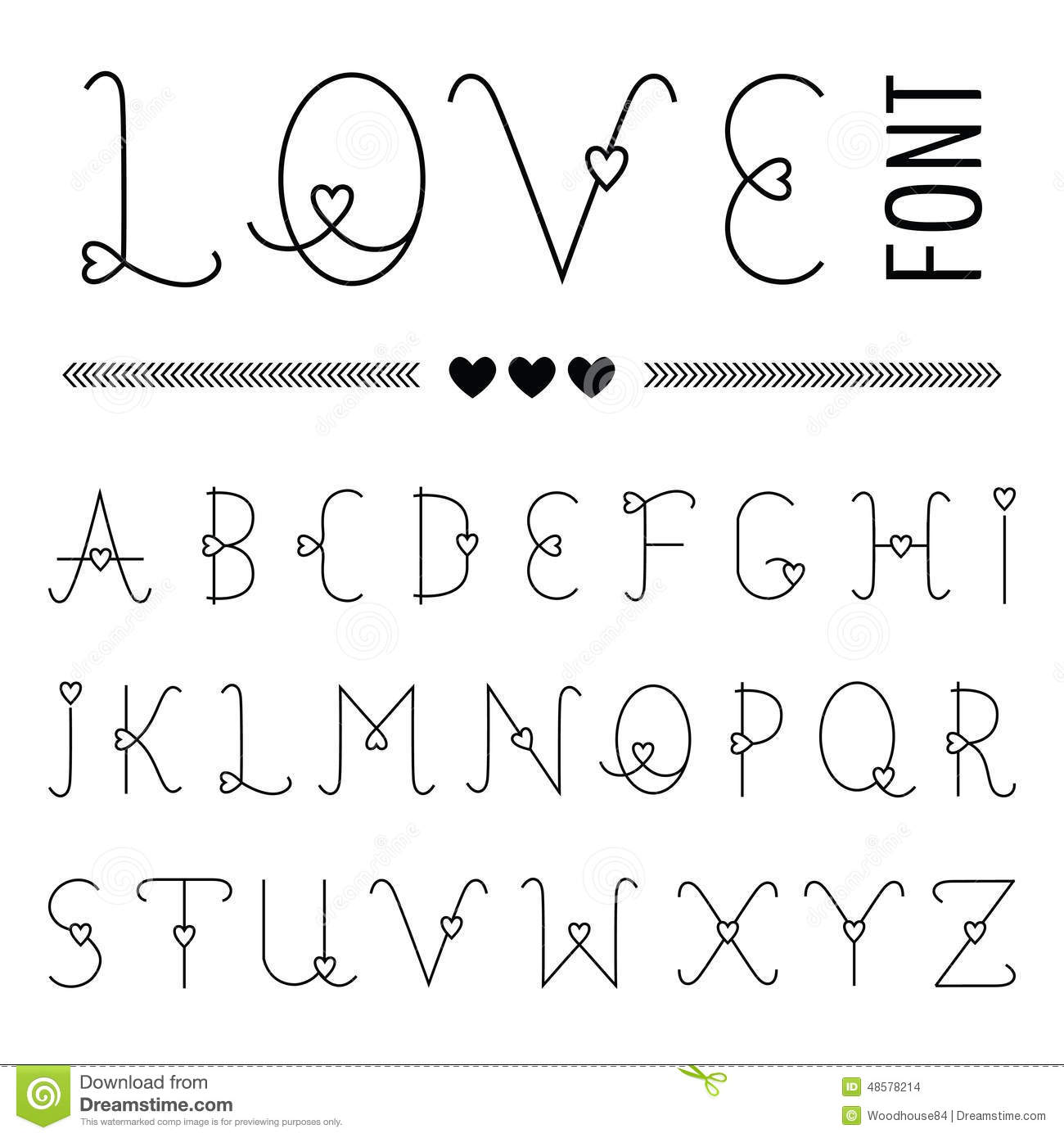 Hand Drawn Love Font Stock Vector Image 48578214