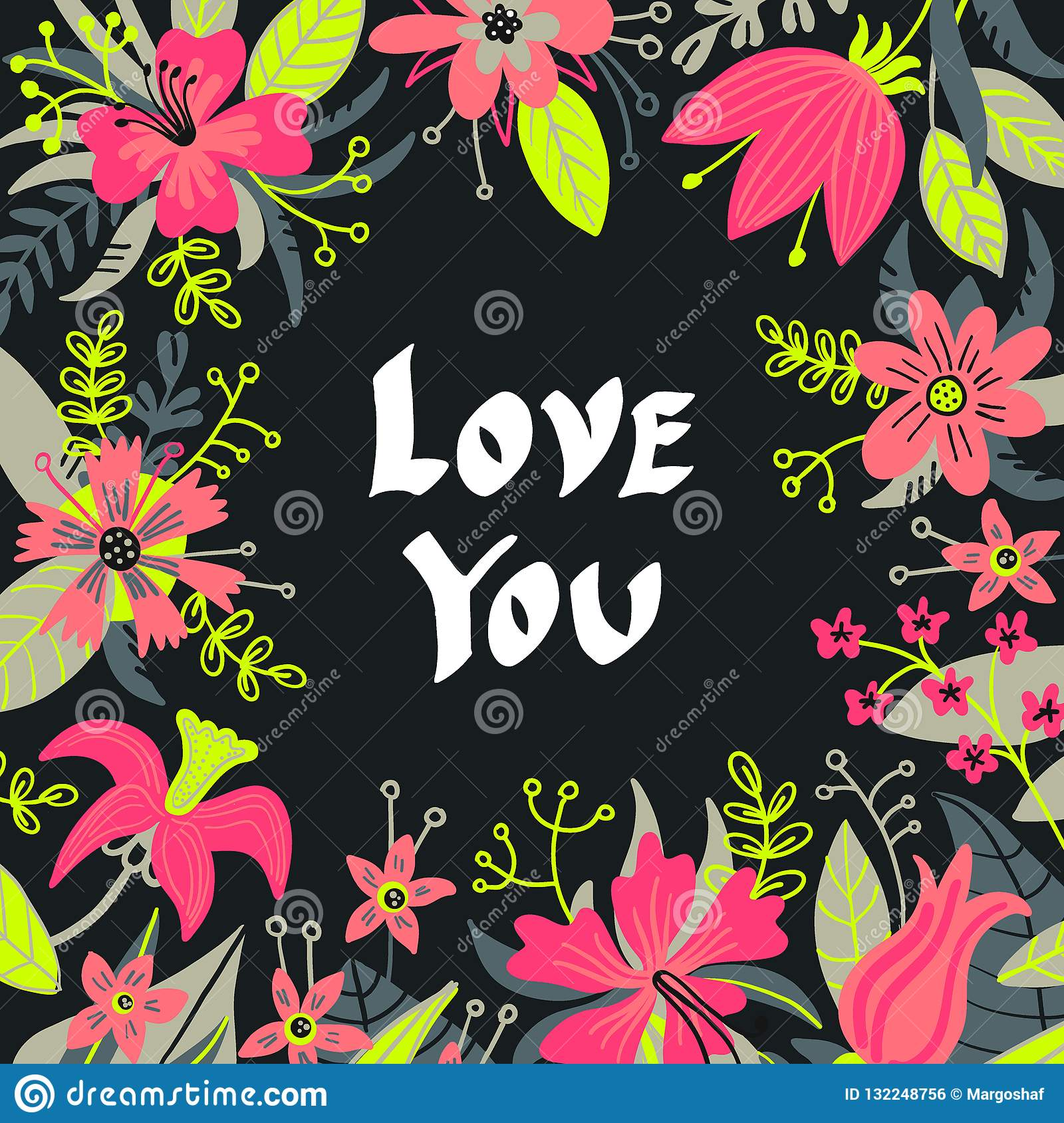Hand drawn Love you typography lettering poster, card, illustration for mother`s day, valentine`s day