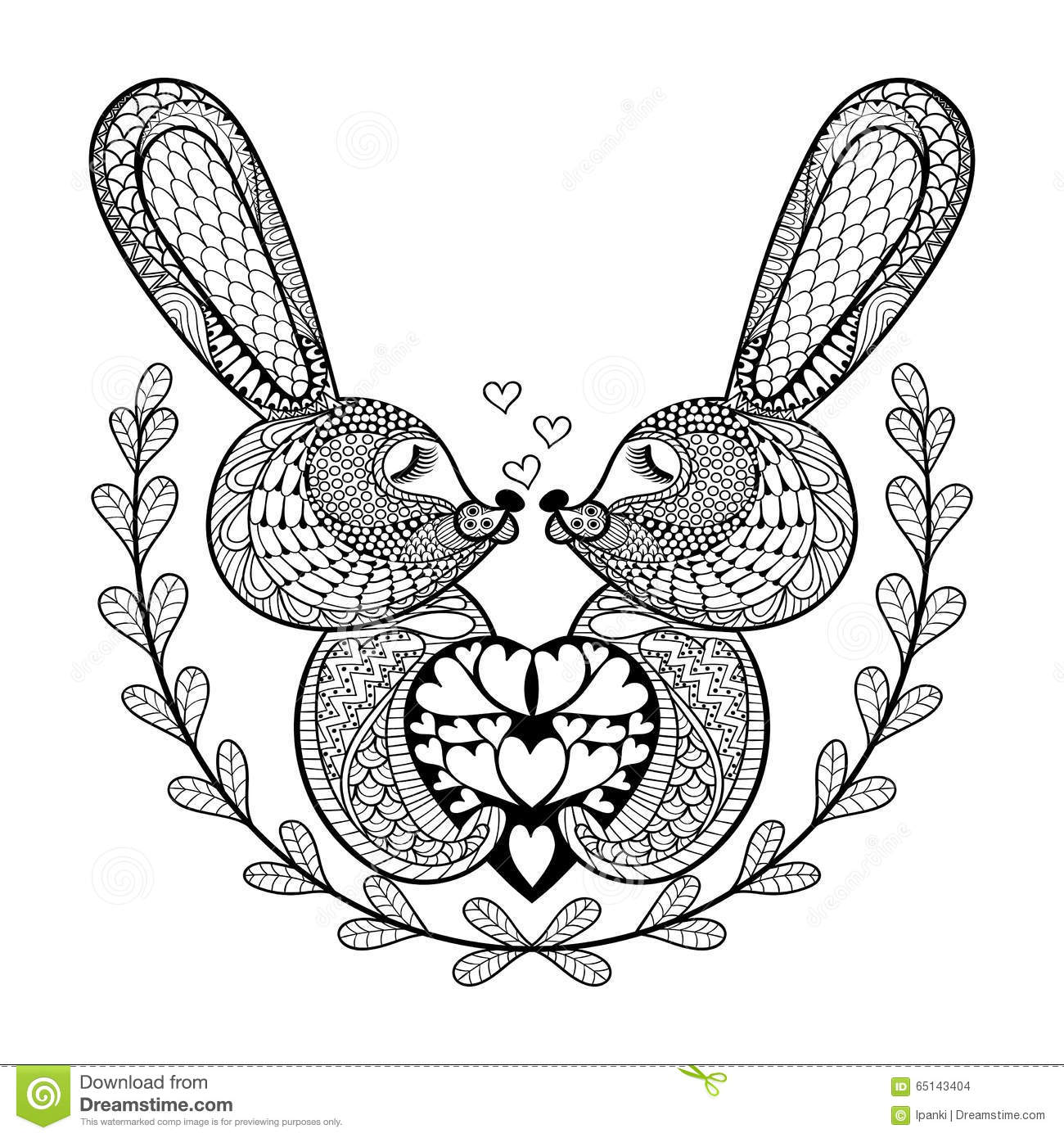 Hand Drawn Lovely Rabbit For St. Valentine's Day In Doodle ...