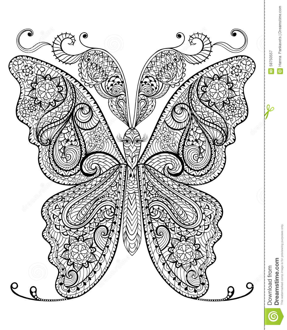 Hand Drawn Magic Butterfly For Adult Anti Stress Coloring Page With