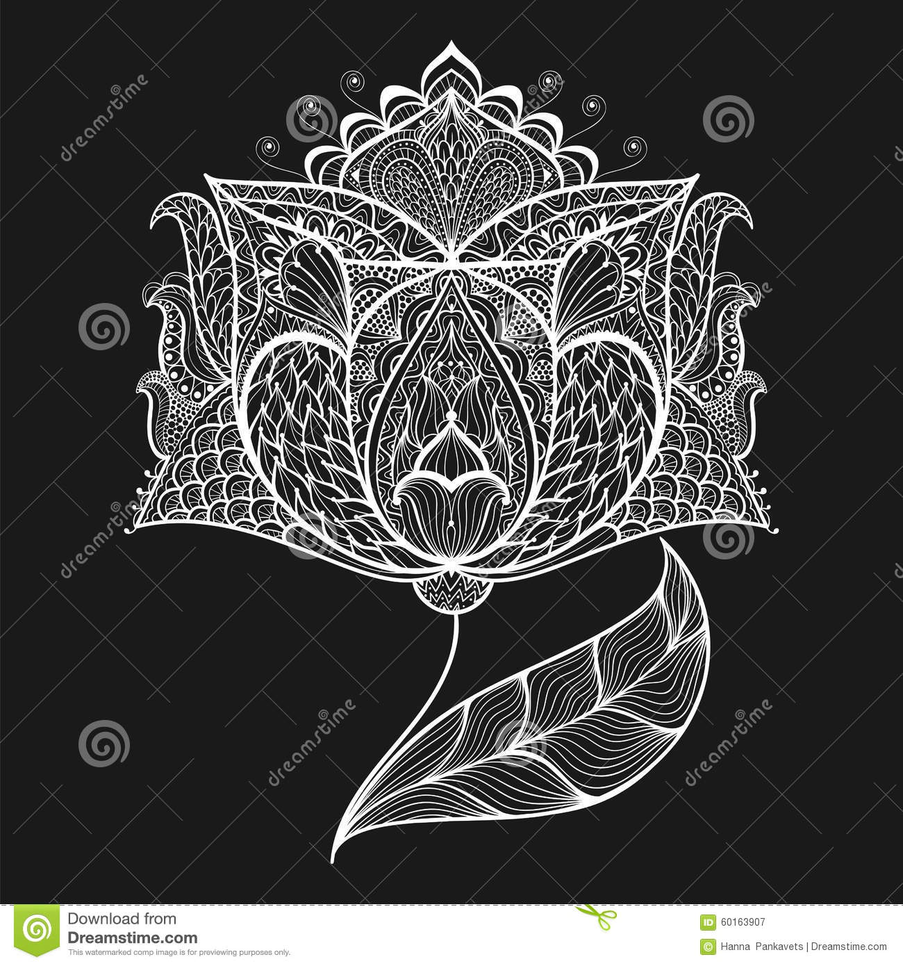 Hand Drawn Magic Flower For Adult Anti Stress Coloring Page With