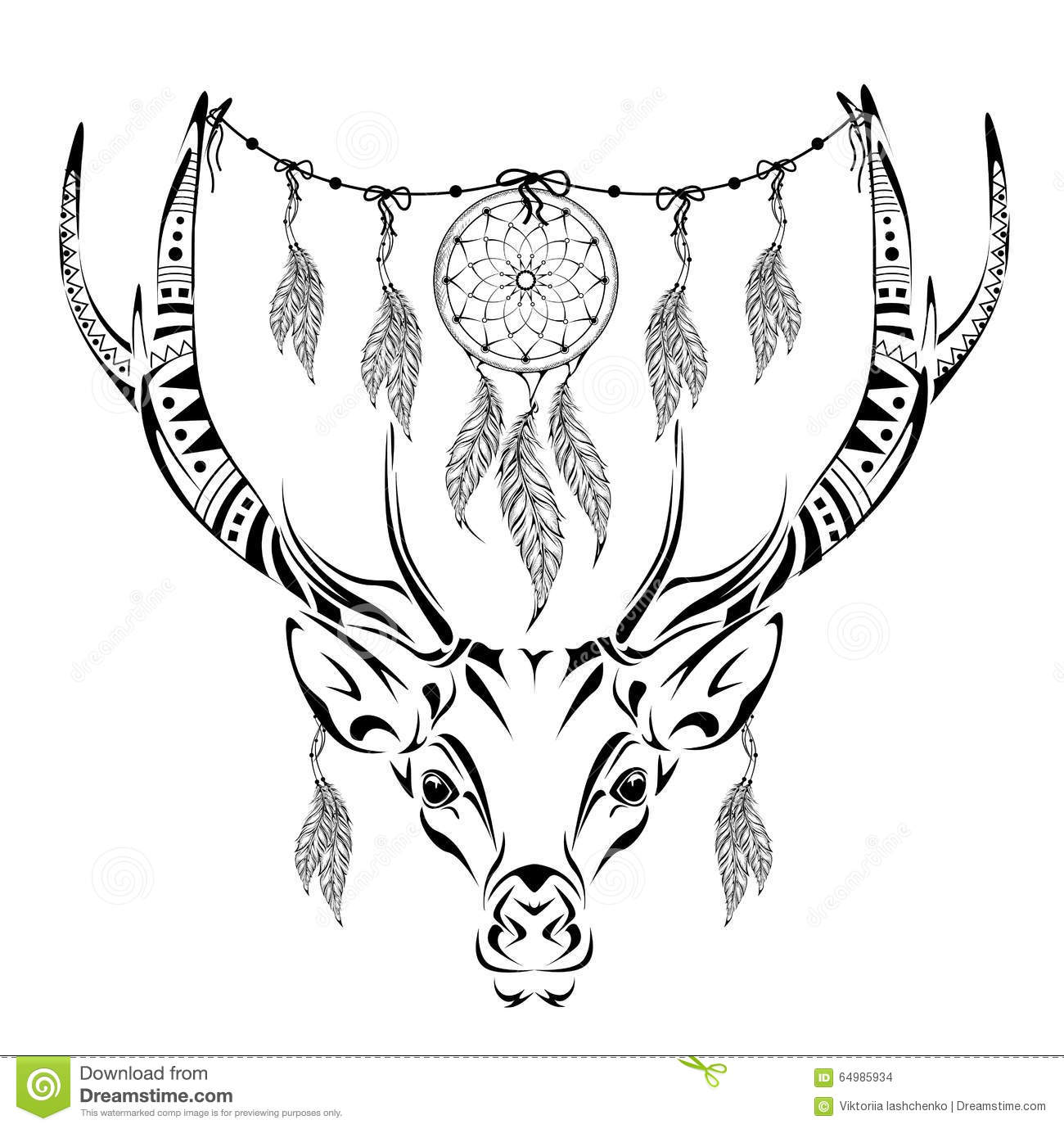 Hand Drawn Magic Horned Deer For Adult Anti Stress Coloring Page ...