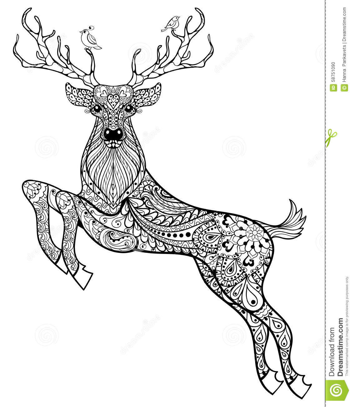 Hand Drawn Magic Horned Deer With Birds For Adult Anti