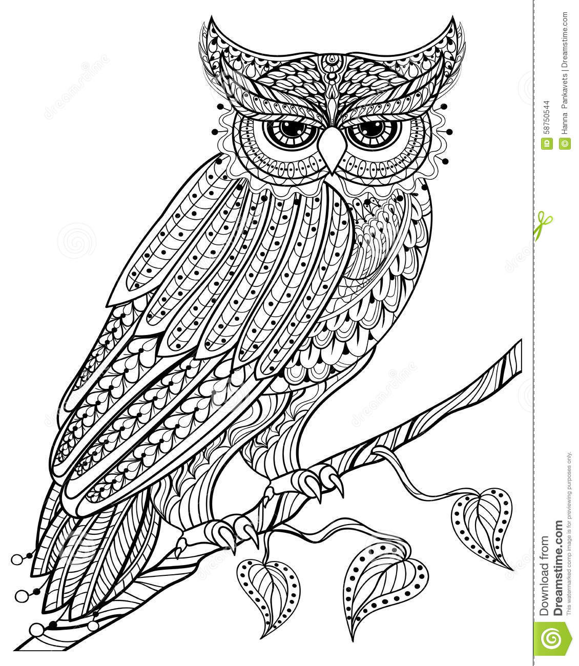 Hand Drawn Magic Owl Sitting On Branch For Adult Anti
