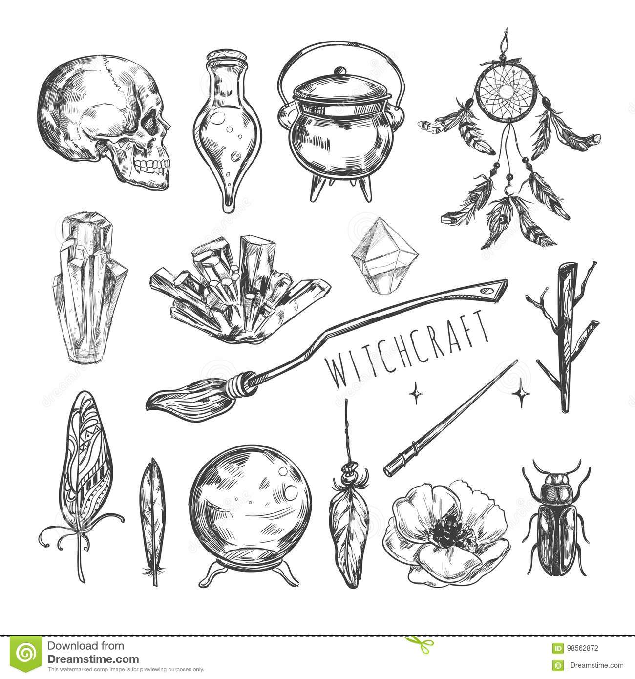 Witch craft symbols gallery symbol and sign ideas hand drawn magic set vector illustration wizardry witchcraft vector illustration wizardry witchcraft symbols isolated icons collection buycottarizona