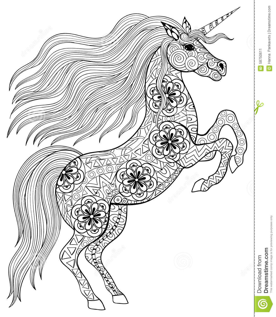 Hand drawn magic unicorn for adult anti stress coloring page with high details isolated on white background illustration in zentangle style